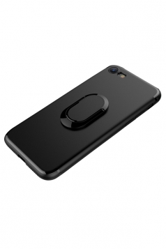 Black with Rotating Ring Kickstand Magnetic Case Cover for iPhone