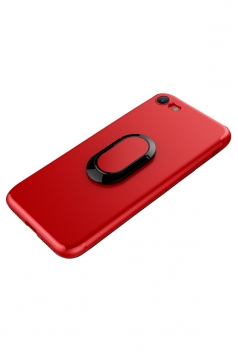 Red Frosted Rotating Ring Kickstand Magnetic Case Cover for iPhone