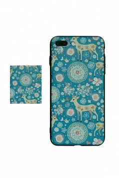 Blue Frosted Reindeer Printed with TPU Bumper Edge Case for iPhone