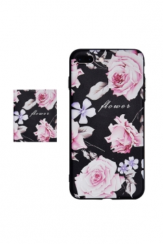 Pink Frosted Floral Printed with TPU Bumper Edge Case for iPhone