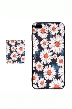 White Frosted Floral Printed with TPU Bumper Edge Case for iPhone