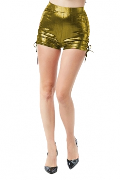 Womens Sexy High Waisted Lace Up Side Slit Plain Liquid Shorts Gold