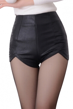 Womens Skinny High Waisted Asymmetric Hem Zipper Leather Shorts Black