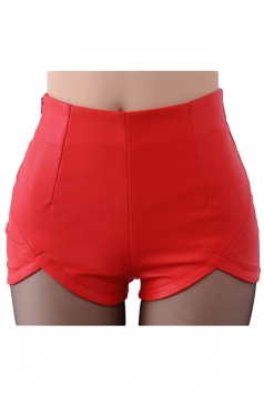 Womens Skinny High Waisted Asymmetric Hem Zipper Leather Shorts Red
