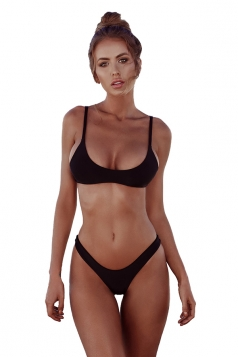 Womens Sexy Low Rise Top&Swimwear Bottom Two Piece Bikini Set Black