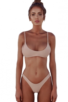 Womens Sexy Low Rise Top&Swimwear Bottom Two Piece Bikini Light Pink