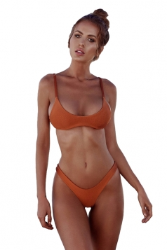 Womens Sexy Low Rise Top&Swimwear Bottom Two Piece Bikini Set Coffee