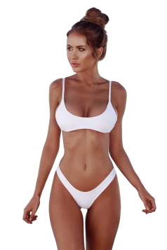 Womens Sexy Low Rise Top&Swimwear Bottom Two Piece Bikini Set White