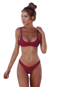 Womens Sexy Low Rise Top&Swimwear Bottom Two Piece Bikini Set Ruby