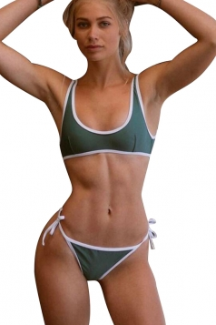 Womens Sexy Bandeau Top&String Swimwear Bottom Bikini Set Dark Green