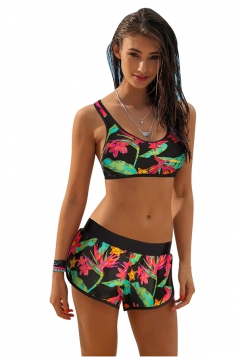 Womens Sexy Sports Style Drawstring Flower Printed Bikini Suit