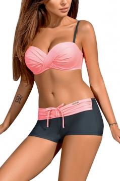 Womens Halter Twist Front Bikini Top%Boardshort Lace Up Swimsuit Pink