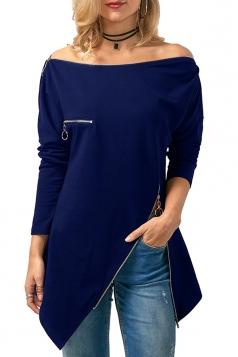 Womens Long Sleeve Zipper Slit Asymmetrical Hem Plain T-Shirt Blue