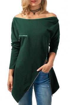 Womens Off Shoulder Zipper Slit Asymmetrical Hem Plain T-Shirt Greed