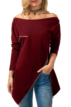 Womens Off Shoulder Zipper Slit Asymmetrical Hem Plain T-Shirt Ruby