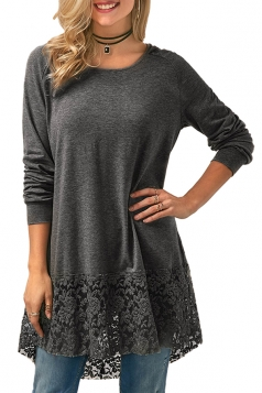 Womens Crew Neck Hooded Long Sleeve Lace Dip Hem Loose T-Shirt Gray