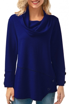 Womens Cowl Neck Long Sleeve Button Asymmetrical Hem T-Shirt Blue