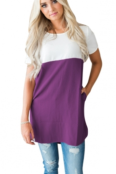 Womens Casual Crew Neck Pocket Short Sleeve Color Block Blouse Purple