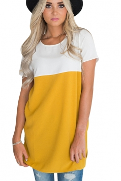 Womens Casual Crew Neck Pocket Short Sleeve Color Block Blouse Yellow