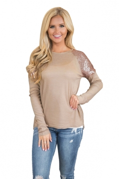 Womens Stylish Sequin Raglan Sleeve High Low Plain T-Shirt Khaki