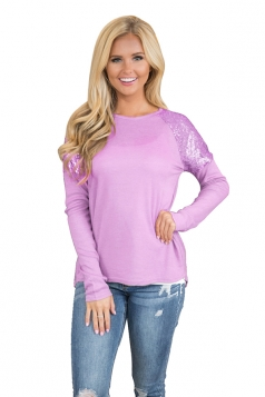 Women Stylish Sequin Raglan Sleeve High Low Plain T-Shirt Light Purple