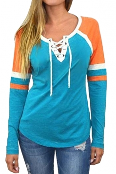 Womens Crew Neck Lace Up Raglan Sleeve Color Block T-Shirt Blue
