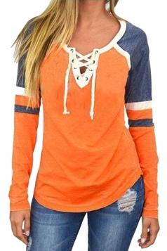 Womens Crew Neck Lace Up Raglan Sleeve Color Block T-Shirt Orange