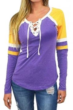 Womens Crew Neck Lace Up Raglan Sleeve Color Block T-Shirt Purple