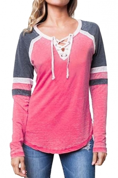 Womens Crew Neck Lace Up Raglan Sleeve Color Block T-Shirt Pink
