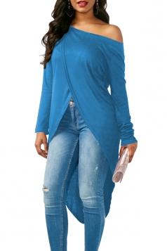 Womens Sexy One Shoulder Asymmetrical Hem Long Sleeve T-Shirt Blue