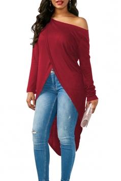 Womens Sexy One Shoulder Asymmetrical Hem Long Sleeve T-Shirt Ruby