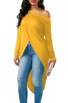 Womens Sexy One Shoulder Asymmetrical Hem Long Sleeve T-Shirt Yellow