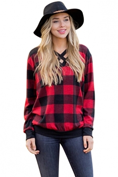 Womens Casual V-Neck Cut Out Long Sleeve Plaid Shirt Red