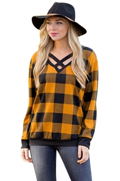 Womens Casual V-Neck Cut Out Long Sleeve Plaid Shirt Yellow