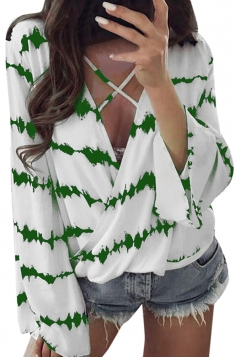 Womens Criss V Neck Bell Sleeve Wrap Front Stripe Loose T-Shirt Green