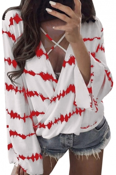 Womens Criss V Neck Bell Sleeve Wrap Front Stripe Loose T-Shirt Red