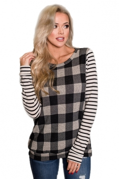 Womens Casual Crew Neck Long Stripe Sleeve Plaid T-Shirt Black