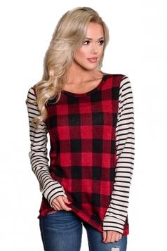 Womens Casual Crew Neck Long Stripe Sleeve Plaid T-Shirt Red