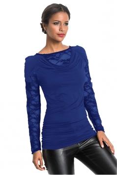 Womens Sexy Heaps Collar Lace Patchwork Long Sleeve Plain T-Shirt Blue