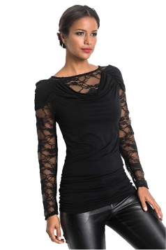 Womens Sexy Heaps Collar Lace Patchwork Long Sleeve T-Shirt Black