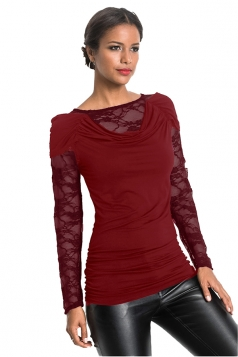 Womens Sexy Heaps Collar Lace Patchwork Long Sleeve T-Shirt Dark Red