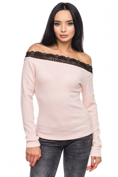 Womens Sexy Lace Patchwork Off Shoulder Long Sleeve T-Shirt Pink