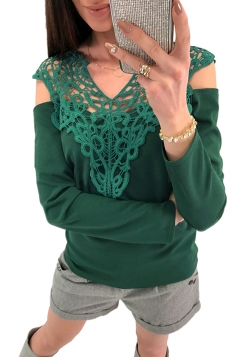 Womens Sexy Lace V-Neck Cold Shoulder Long Sleeve Plain T-Shirt Green