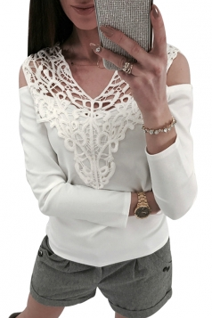 Womens Sexy Lace V-Neck Cold Shoulder Long Sleeve Plain T-Shirt White