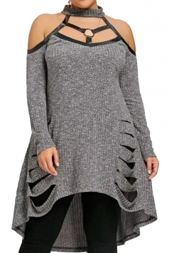 Womens Sexy Halter Long Sleeve Oversize Dip Hem Sweater Dress Gray