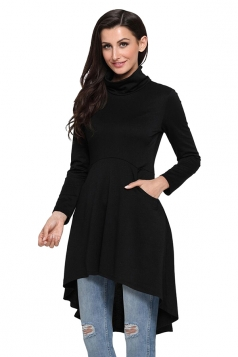 Womens High Collar Long Sleeve High Low Tunic Long Sleeve Dress Black