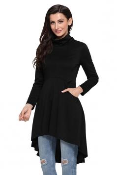 Womens High Collar Long Sleeve High Low Tunic Long Sleeve Dress Black