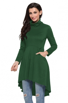 Womens High Collar Long Sleeve High Low Tunic Long Sleeve Dress Green