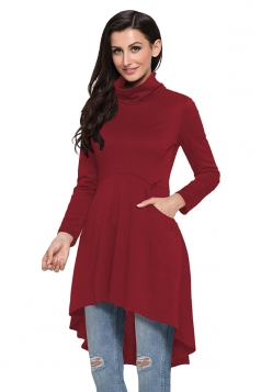 Womens High Collar Pocket High Low Tunic Plain Long Sleeve Dress Ruby