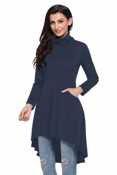 Womens Long Sleeve Pocket High Low Plain Long Sleeve Dress Navy Blue